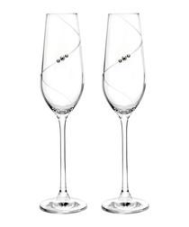 2pc Auris champagne flute glass set