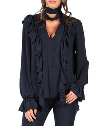 Navy ruffle scarf detail blouse