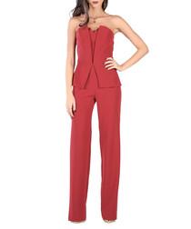 Red strapless peplum jumpsuit