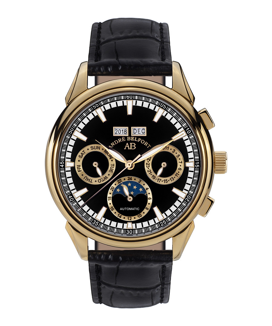 Ambassadeur gold-tone & leather watch Sale - andre belfort
