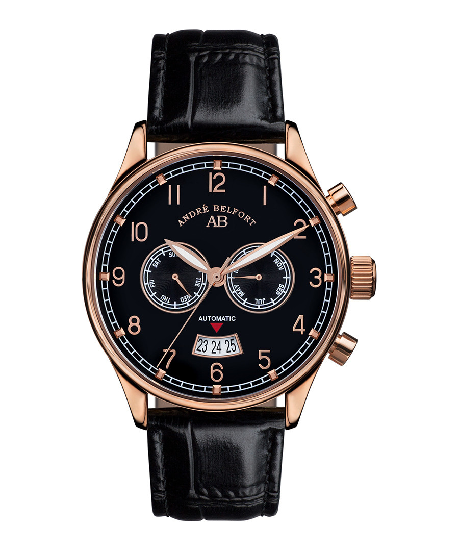 Calendrier black leather watch Sale - andre belfort