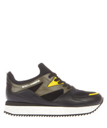 Men's black & yellow neoprene sneakers