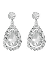 Silver-plated crystal drop earrings