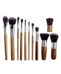 11pc Bamboo kabuki make-up brush set
