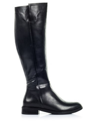Black leather flat riding boots