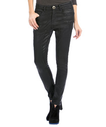 Black cotton blend skinny jeans