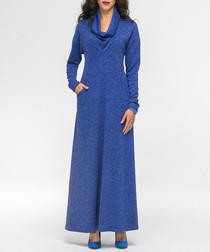 Blue cowl-neck maxi dress