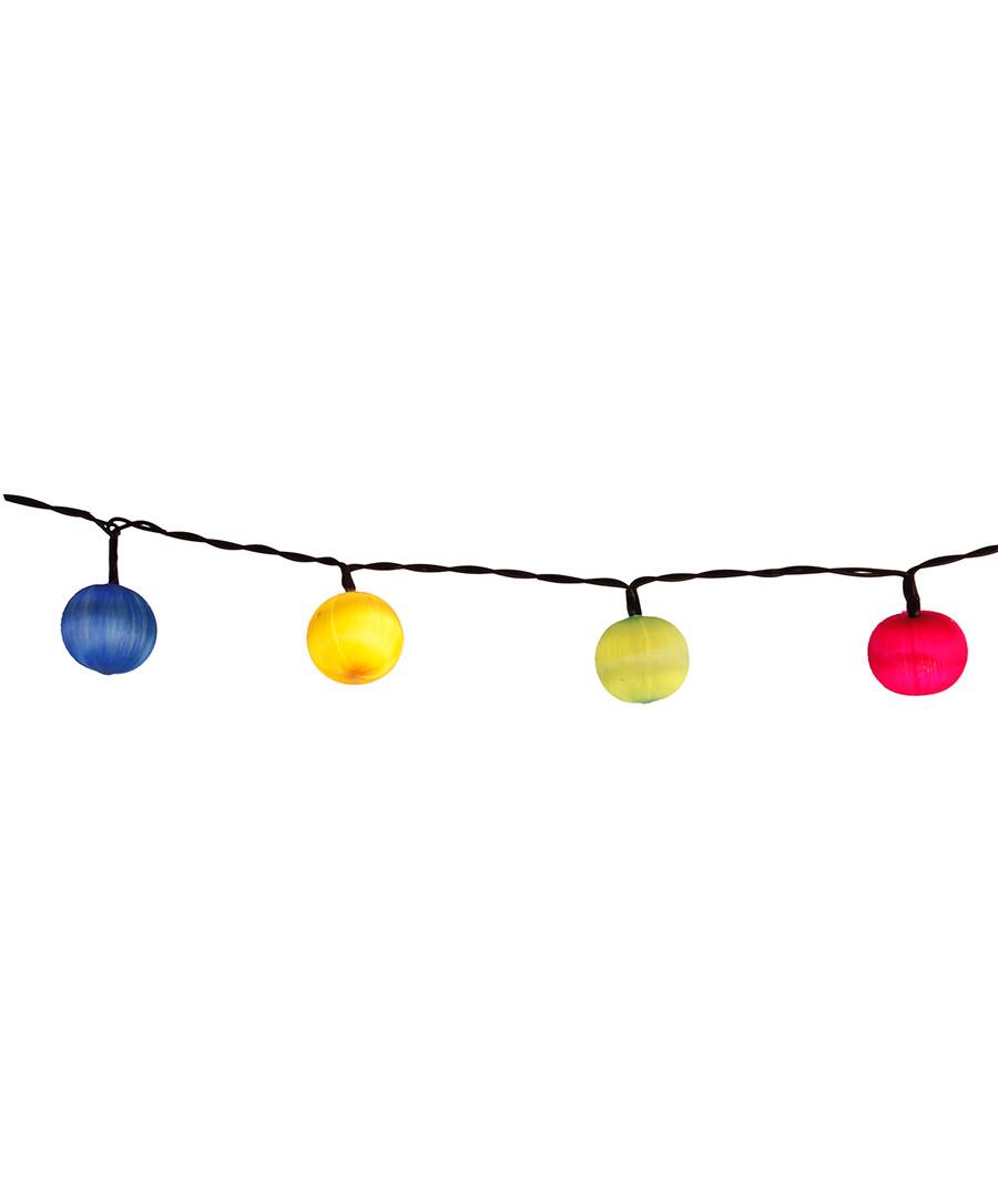 Multi-coloured fabric LED chain 135cm Sale - solar lighting
