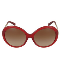 Willa red round oversized sunglasses