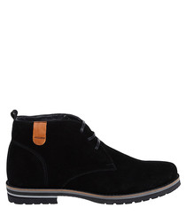 Black suede chunky sole desert boots
