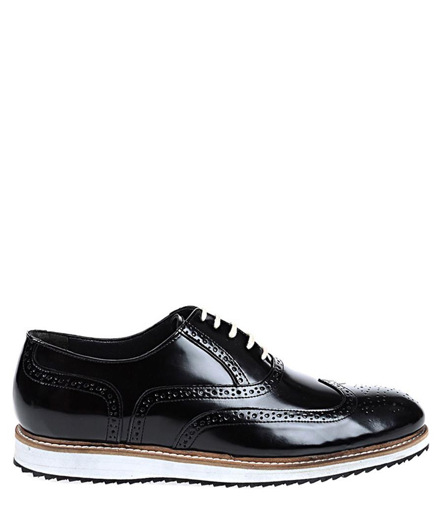 Black & white leather contrast brogues Sale - Baqietto