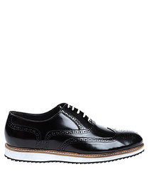 Black & white leather contrast brogues