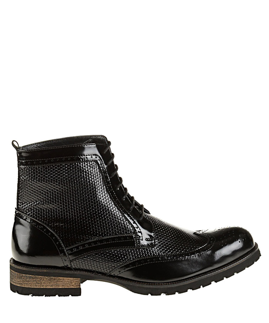 Black leather brogue ankle boots Sale - Baqietto