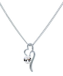 Desire white gold-plated heart necklace