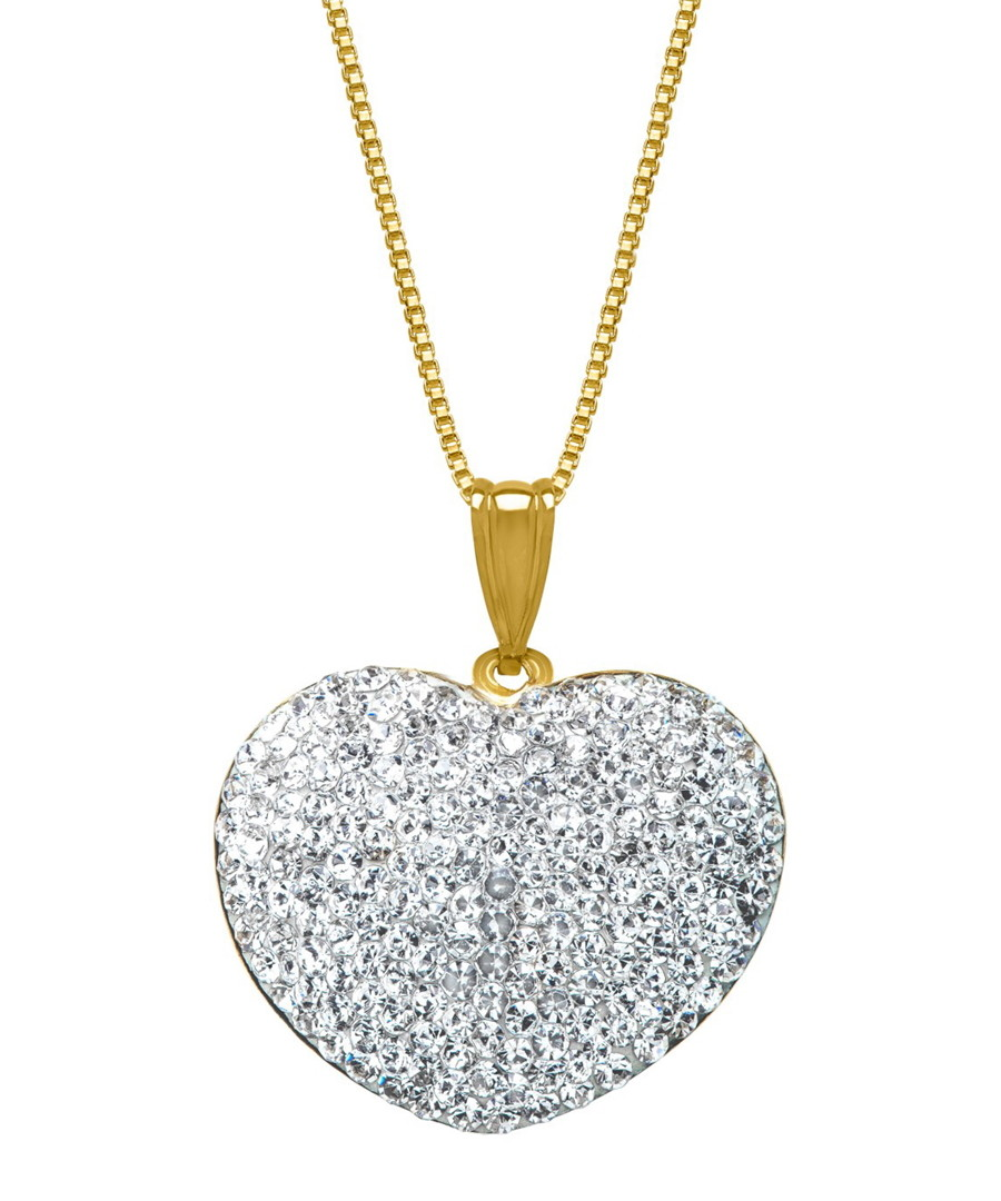 18ct gold-plated crystal heart necklace Sale - liv oliver