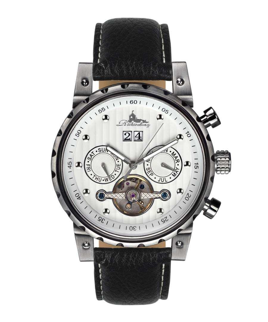 Newport black leather & white watch Sale - richtenburg
