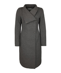 Grey wool-blend asymmetric-collar coat