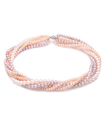 0.7cm pink & peach pearl twist necklace