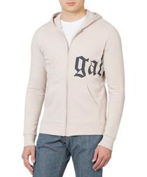 Beige cotton blend printed hoodie