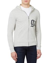 Light grey cotton blend printed hoodie