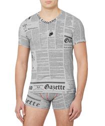 Grey cotton blend newsprint T-shirt