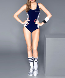 Navy side stripe swimsuit