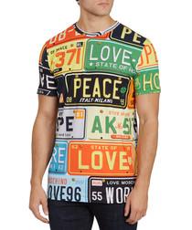 Multicoloured cotton license plate T-shirt
