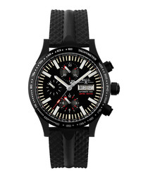 Fireman black steel & rubber watch