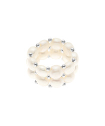 0.3cm white freshwater pearl ring