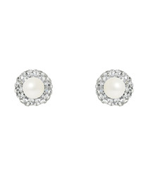 0.6cm pearl & crystal dual-sided studs