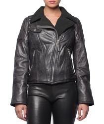 Women's Tokyo black leather jacket