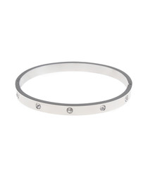 Silver-plated steel & crystal bangle