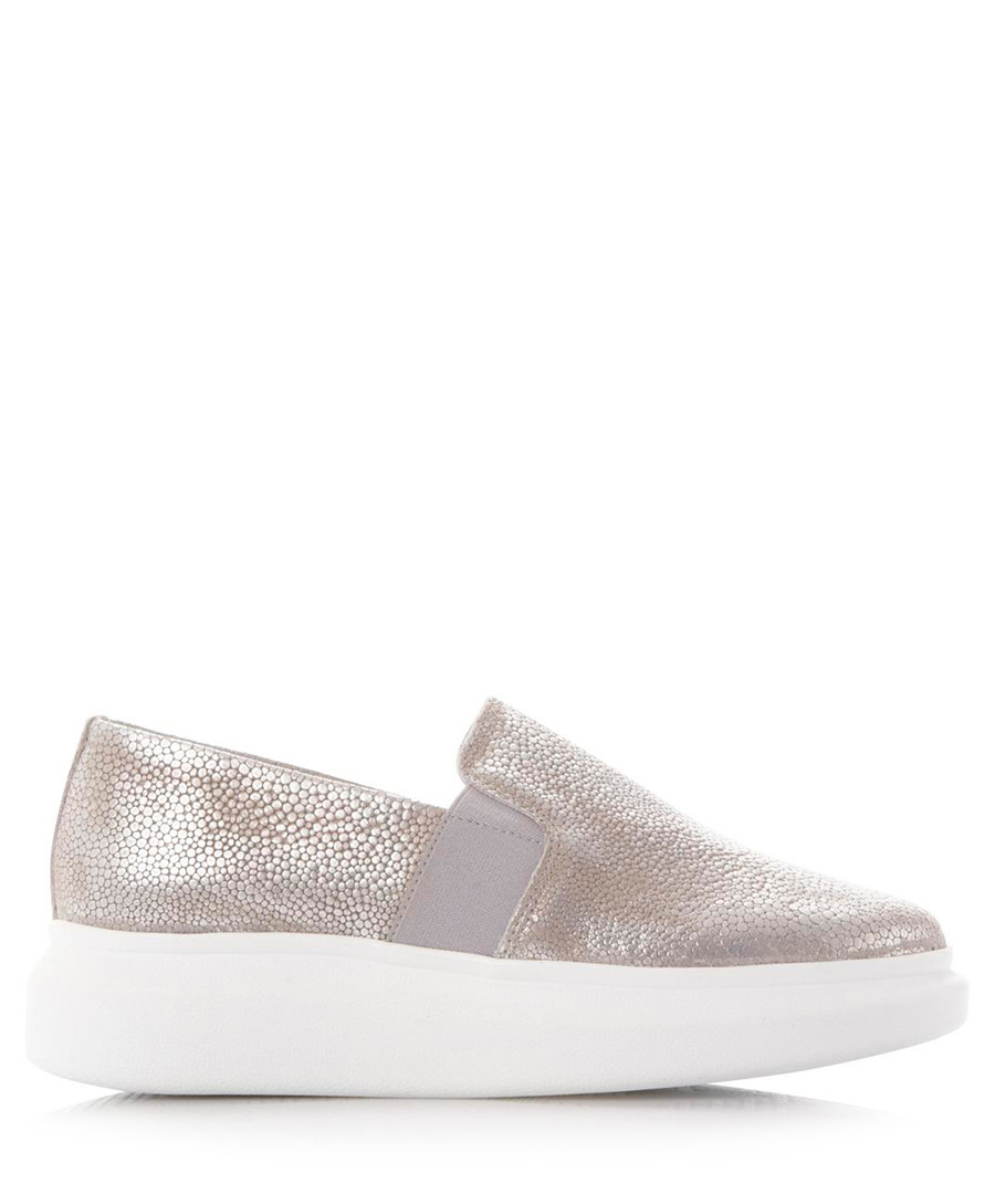 Enza silver-tone leather sneakers Sale - dune