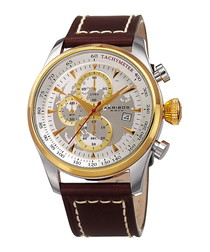 Brown gold-tone & steel leather watch