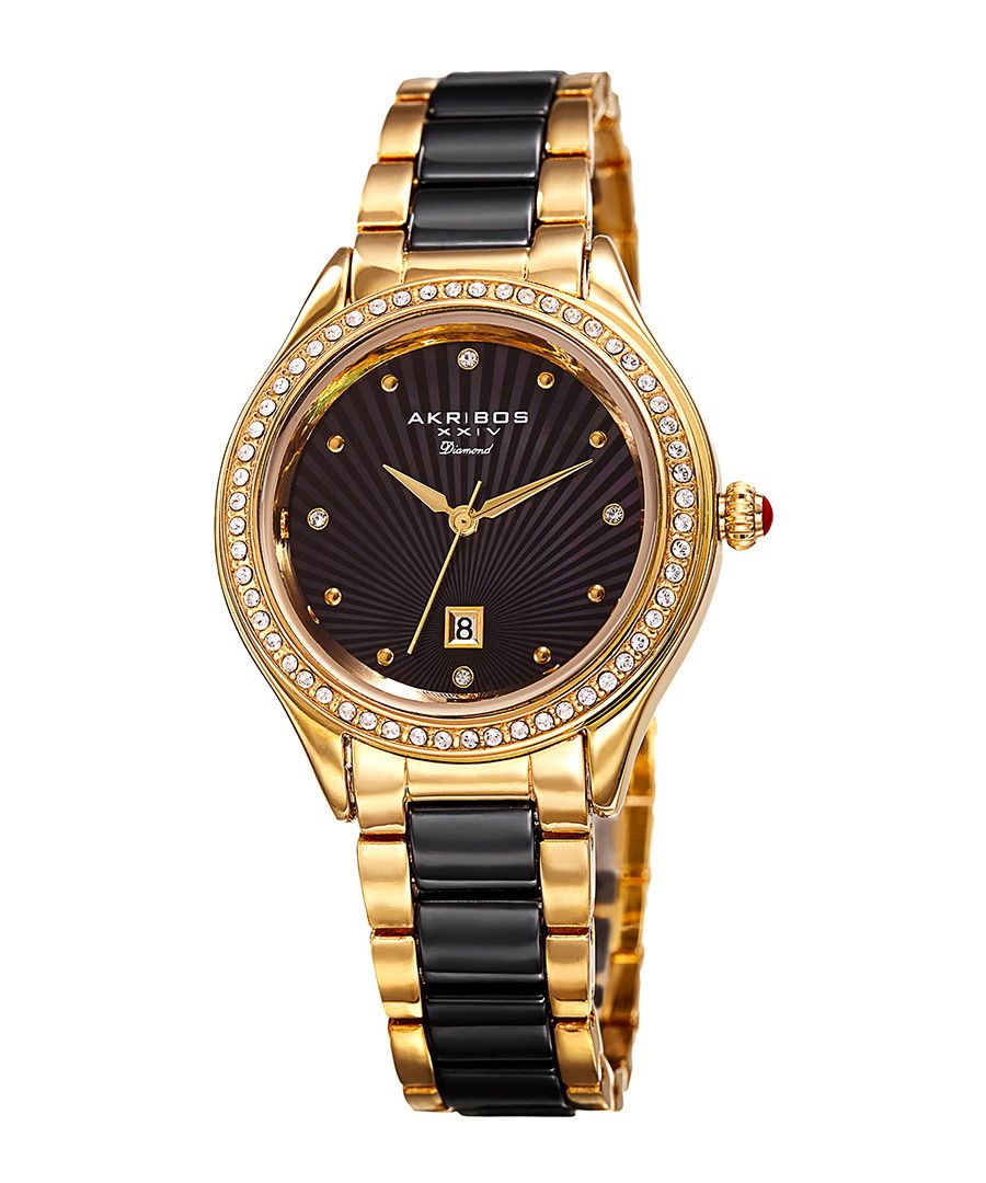 Black & gold-tone crystal ceramic watch Sale - Akribos XXIV