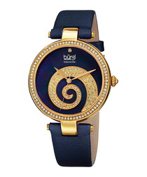 Navy & gold-tone mother-of-pearl watch