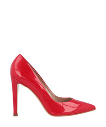 Red patent leather pointed courts