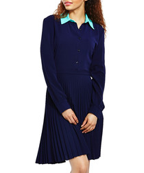 Navy contrast collar shirt dress