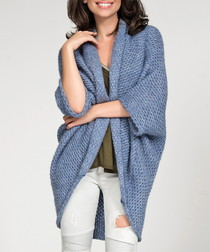 Blue knitted draped cardigan