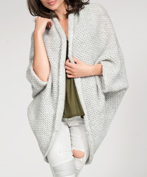 Light grey knitted draped cardigan