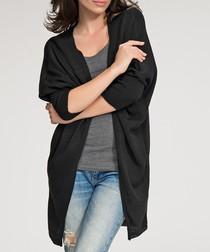 Black collarless draped cardigan