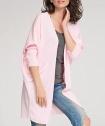 Powder pink collarless draped cardigan