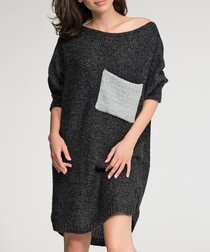 Black contrast pocket jumper dress