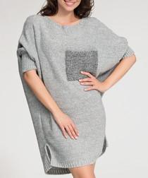 Grey contrast pocket jumper dress
