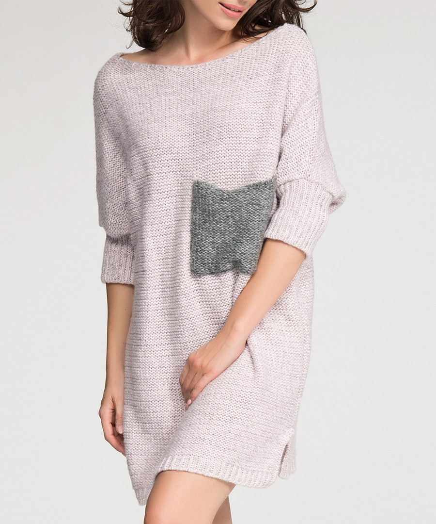 Pink contrast pocket jumper dress Sale - numinou