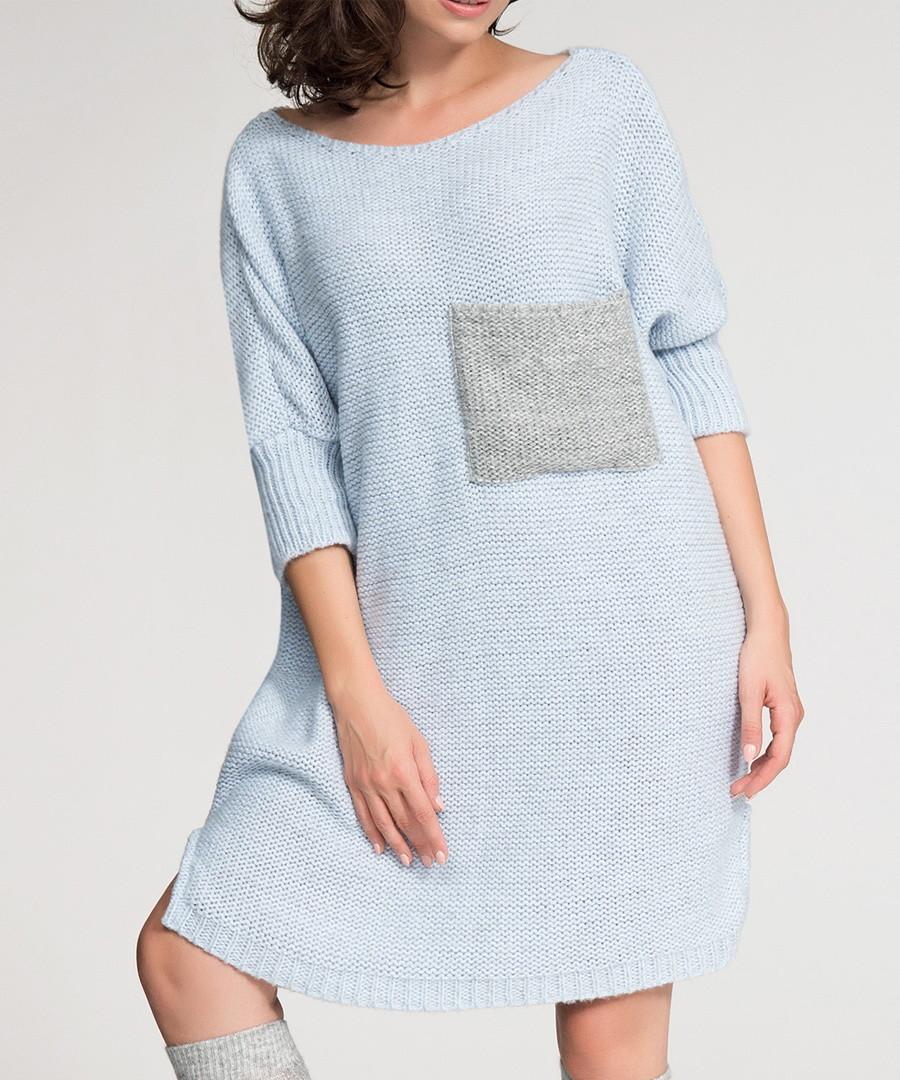 Sky blue contrast pocket jumper dress Sale - numinou