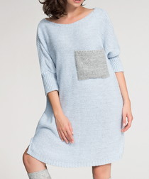 Sky blue contrast pocket jumper dress