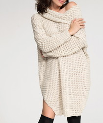 Beige textured knit jumper dress