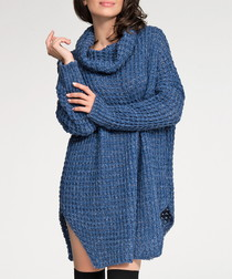 Blue roll neck knit jumper dress