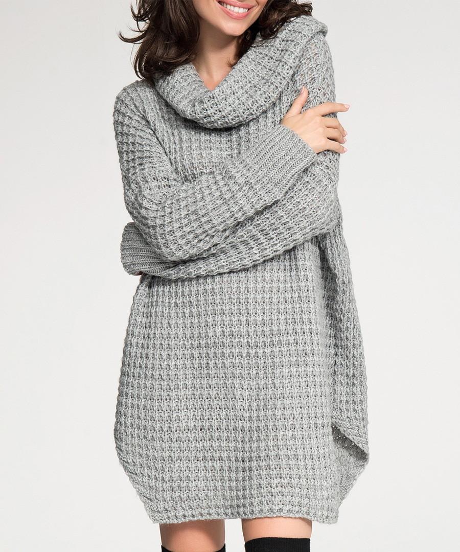 Light grey high neck knit jumper dress Sale - numinou